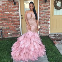Wholesale Mermaid Organza Lace Feathers - Stylish Africa Blush Appliqued Long Prom Dresses Custom Made 2017 Illusion Neck Plus Size Feather Skirts Formal Gowns Evening Wear