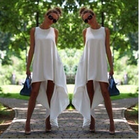 Wholesale White Boho Tunic - Women Summer Bohemian Dress White Irregular Beach-to-Bar Loose Dresses Loose Flare Tunic Female Sleeveless Beachwear Boho Gowns Tunics