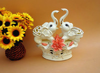 Wholesale Carved Elephant Wholesale - elephant ceramics in pairs White ceramics in pairs Home Furnishing Decor minimalist interior furnishings lover ceramic gifts room decoration