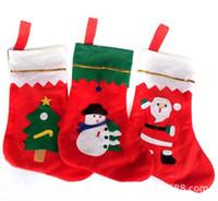 tecido meias natal venda por atacado-12 pçs / lote Enfeites de Árvore de Natal Não-Tecidos Meias de Natal Santa Sock Suprimentos Crianças Penduradas Sacos de Presente Xmas Decor Meias Doces