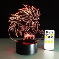 Wholesale Cartoon Wedding Gift - 3D Lamp Remote Control dragonball best gift for children Night light Furniture Decorative colorful 7 color change household Home Accessories