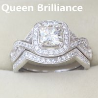 Queen Brilliance Heavier Versión 1.1 Ct Cojín de Recorte EngagementWedding Moissanite anillo de diamantes Set Sólido 14K 585 Oro Blanco 17903