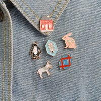 Wholesale Penguin Animal Hat - Penguin Horse Rabbit Red House Tree Enamel Pins Lapel Pin Badge Hat Bag Denim Jackets Decoration Jewelry