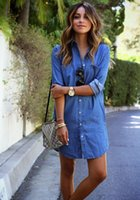 Wholesale women denim dresses size xl - 2017 autumn women clothing mini denim dress with button casual loose long sleeve blue t shirt dress plus size 2XL free shipping