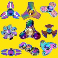 Wholesale Left Hand Wholesalers - Rainbow Three Leaves Hand Spinner Crabs Leg Style Gyro Cyclone Fidget Spinner EDC aluminium alloy HandSpinner Decompression Anxiety OTH395