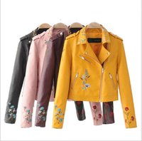Wholesale Wine Leather Woman Jacket - Embroidery faux leather coat Motorcycle zipper wine red leather jacket women Fashion cool outerwear winter jacket women men coats 2017