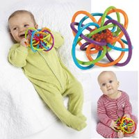 Wholesale Fun Safes - Wholesale- Baby Fun Feeder Teething Toy Rattles Safe Soft Tube Winkel Rattle Sensory Teether Action Mobile For Kids Appease Toys Rings-A