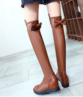 Wholesale Tall Suede Wedge Boots - Wholesale New Arrival Hot Sale Specials Super Fashion Influx Warm Leather Sweet Girl Bow Round Head Tall Canister Wedge Knee Boots EU34-39