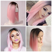 Wholesale Sexy Pink Wigs - Sexy Black Ombre Pink Straight Short Bob Hair Glueless Synthetic Lace Front Wigs with Baby Hair Cheap Synthetic Wigs for black women