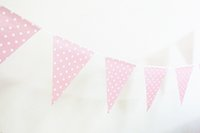 Wholesale Chevron Baby Shower - Wholesale- Free Shipping 6pcs Pink Banner Chevron Dot Striped Flag Banner Birthday Party Decor Flag Garland for Birthday Baby Shower Decor