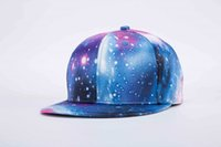 Wholesale Mens Galaxy - 2017 new 3d print blue galaxy star caps cheap wholesale mens brown color brim hats summer strapback caps long brim cap free shipping