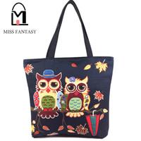 Wholesale Vintage Beach Painting - Wholesale- Fashion Women's Canvas Handbag Oil Painting Owl Printed Beach Shopping Bags Black Big Tote Bags Travel Shoulder Bags