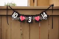 kostenlose hochzeit banner großhandel-Wholesale- Kostenloser Versand 1 x Schwarz neue handgemachte Gewohnheit retten die Datums-Wedding Date Banner für Hochzeiten und Engagement Session
