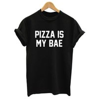 Wholesale Pizza Print Shirt - Wholesale-Women Summer Top Pizza Is My Bae Letters Print T shirt 2015 Sexy Slim Funny Top Tee Black White