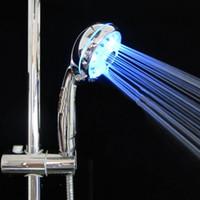 Wholesale Adjustable Shower Head Led Lights - Wholesale- A96 Adjustable 3 Mode LED Light Shower Head Sprinkler Temperature Sensor Bathroom #XY#