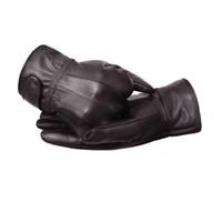 Wholesale Male Genuine Leather Gloves - Wholesale- Men's Business Gloves Genuine Leather Coffee Plus Velvet Mitten Elastic Full Finger Guantes Male Winter Leather Gloves Windpro