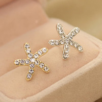 New Fashion Full Rhinestone Sea Star Starfish Orecchini per gioielli donna Accessori ED357