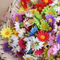 Wholesale Silk Chrysanthemum Heads - 100pcs DIY Artificial Flower Head Sunflowers Lovely Small Real Touch Daisy Silk Flowers Chrysanthemum Sun for Patry Christmas Decoration