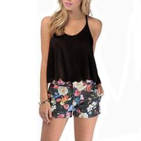 Wholesale Loose Crop Top Tanks Wholesale - Wholesale- Hot New Fashion Women Ladies Summer Sexy Backless Cut Out Crop Top White Casual Loose Chiffon Blouse Halter Tank Top D11