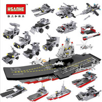 Wholesale Warship Toys - 8pcs lot Hsanhe military naval ship series warship model building blocks 8 in 1 Set Bricks DIY 2 changes Educational ship Toy