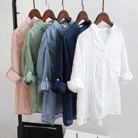 ropa de lino puro al por mayor-Blusas para mujer Nueva ropa elegante de algodón de lino Señora Ropa Moda mujer delgada temperamento Color puro Camisa causal caliente Tops