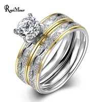 Wholesale Silver Rings Fashion Jewelry - New Fashion Stainless Steel 2 Rounds CZ Diamond Paved Engagement Rings Sets Gold Silver Color Crystal Wedding Jewelry For Women
