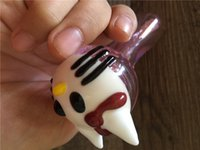 Wholesale Lovely Kitty Cat - pink glass pipe hot sale Big cat hello kitty smoking glass pipes lovely cat head pipes spoon pipe