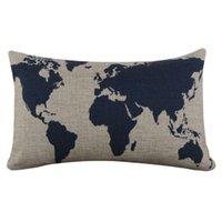 Wholesale Decorative Linen Burlap Pillows - Wholesale- Burlap Linen Dark Blue World Map Decorative Pillow Case