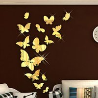 Wholesale Decorative Wall Decals Butterfly - Butterfly Walls Stickers Animals 3D Mirror Wall Stickers Decorative Wall Stickers Acrylic Material Removable Home Decoration Wall Decal