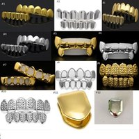 Wholesale Gold Teeth Styles - 14 Styles REAL SHINY REAL GOLD PLACTING Top Bottom GRILLZ Bling Mouth Teeth Caps Hip Hop Grills