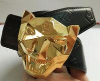 ingrosso mucca punk-Vendita calda nuova PUNK Leopard testa Design fibbia Cintura di marca per uomo donna Fashion Designer Cinture Cow Vera cintura in pelle come regalo 298