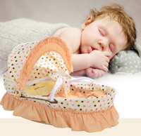 Wholesale Baby Sleeping Basket Portable - 2017 new Foldable Newborn Baby Sleeping Crib Bed Sleeping basket Mosquito Net Tent with Pillow
