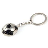 Wholesale Wholesale Sports Souvenir Gifts - Creative Sports Metal Soccer Football Keychains Keyring - Fashion Trinket Novelty Key Holder Souvenir Gifts Key Chain Ring