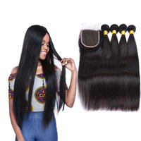 Wholesale brazillian hair natural top closure for sale - Group buy Top Lace Closure With Bundles Brazilian Human Hair Weaves Malaysian Indian Peruvian Straight Virgin Hair Grade A Brazillian Hair Closures