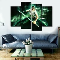 Wholesale Green Painting Wall Decors - 4pcs set Unframed Onepiece Zoro Green Light Anime Poster Print On Canvas Wall Art Picture For Home and Living Room Decor