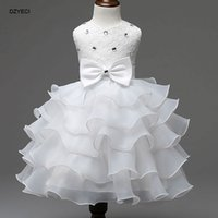 Wholesale Toddler New Years Gown - Girl Dresses New Year Costume For Children Kid Wedding Party Dress Christmas Toddler Infant Bow Ball Gown Belle Pageant Gown Dresses