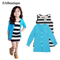 Wholesale Dress Coats For Boys - Wholesale- EABoutique Fashion Striped Vest dress with Sky Blue long sleeve Coat 2 piece set winter suits for girls 2-8 yeas old