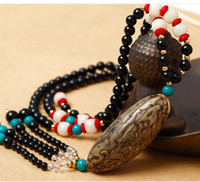 Bohemian black beaded sweater - Long prayer beads bodhi sweater necklace national wind restoring ancient ways decorations deserve to act the role of men and women