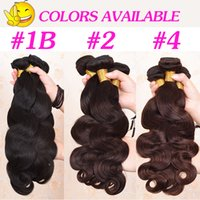 Wholesale Brown Wavy Hair Extensions - Brazilian Virgin Human Body Wave Hair Extensions 8-30 inch 100grams piece Body Wavy Hair Natural Black Brown Hair Weave