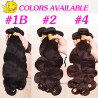 kahverengi dalgalı saç uzatmaları toptan satış-8A Brezilyalı Virgin İnsan Vücudu Dalga Saç Uzantıları 8-30 inç 100 gram / adet Vücut Dalgalı Saç Doğal Siyah Kahverengi Saç Örgü