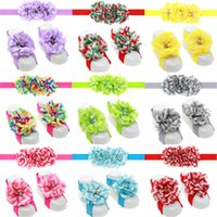 Wholesale Wholesale Baby Barefoot Headband Sets - 13colors Baby Girls Flower Hairband 3pc sets headband and chiffon flower barefoot sandals cute infants flower shoes cover Photography props