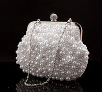 Wholesale Hand Bags Shoulder Lace - Flowers Full Pearls Beaded White Bridal Wedding Hand Bags Evening Party One Shoulder Small Clutch Dinner Bags Cheap White ivory Black