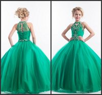 Wholesale Kids Ball Dresses Price - Green Pageant Dresses For Girls Sweet Kids Cheap Price Halter Neck Beading Crystals Sleeveless Ball Gown Open Back Sexy Long Dresses