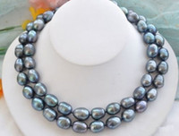 Wholesale 35 inch south sea pearls resale online - south sea mm black natural pearl necklace inch