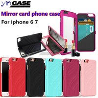 Wholesale card holder mirror online – custom Mirror card phone case For iPhone6 s s plus Flip Credit Card Holder For iphone7 Wallet Hard PC Phone Case Cover