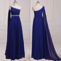 Wholesale Ruched Ruffle Chiffon Dress - Real Pictures Custom Made Royal Blue Capped Evening Dresses Chiffon One-Shoulder Floor-Length Ruffle Ruched Beading Long Prom Gowns Actual