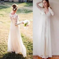 Wholesale Long Maternity Summer Dresses Bohemian - 2017 Bohemian Wedding Dresses Long Sleeves Chiffon Lace V-neck Floor Length Empire Maternity Bridal Gowns Garden Simple Dress For Brides
