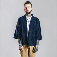 Wholesale Blue Hong Kong - Japan Hong Kong style fashion brand kimono man 3 4 sleeve shirt cotton cardigan wide sleeve loose casual tshirt
