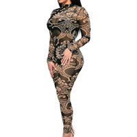 Wholesale Back Zip Catsuit - Wholesale- Hot Sexy Women Sheer Mesh Jumpsuit Vintage Tattoo Print Catsuit See-Through Turtle Neck Zip Back Plus Size Elastic Bodysuit 2017