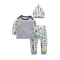 Wholesale Euro Wholesale Clothing - Baby Triangle Long Sleeves Tee+Pants+Hats Outfits 2017 Fall Infant Home Clothes Euro America 0-3T Little Boys 3 PC Set